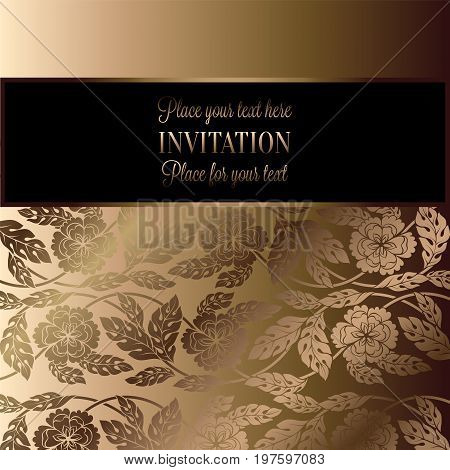 Floral Background With Antique, Luxury Black, Beige And Gold Vintage Frame, Victorian Brocade, Damas