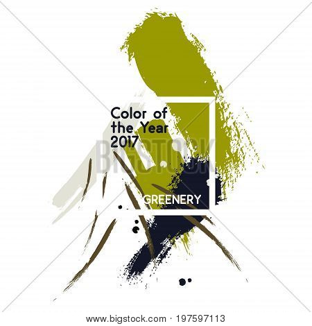 Set of green color brush strokes and texture in watercolor style. Element in the color trend 2017, yellow green shade that evokes first day of spring Vector illustration with color of year - greenery