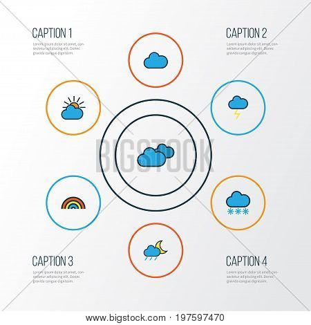 Weather Colorful Outline Icons Set. Collection Of Overcast Weather, Cloudburst, Clouded And Other Elements