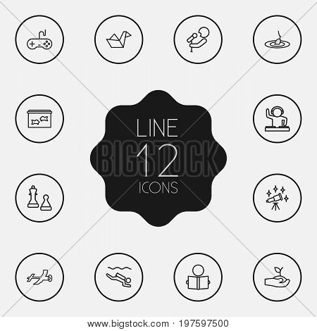 Collection Of Origami, Reading, Dj And Other Elements.  Set Of 12 Entertainment Outline Icons Set.