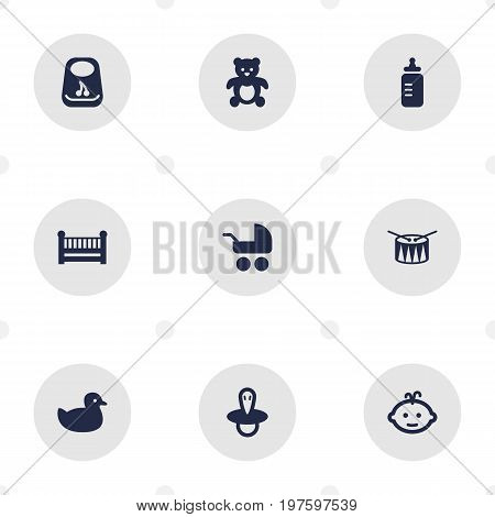 Collection Of Teat, Bear, Milk And Other Elements.  Set Of 9 Child Icons Set.