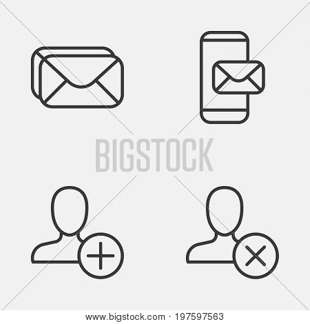 Network Icons Set. Collection Of Insert, Phone Messaging, Mailbox And Other Elements