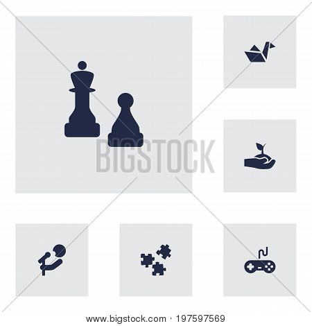 Collection Of Plant, Checkmate, Singer And Other Elements.  Set Of 6 Hobbie Icons Set.