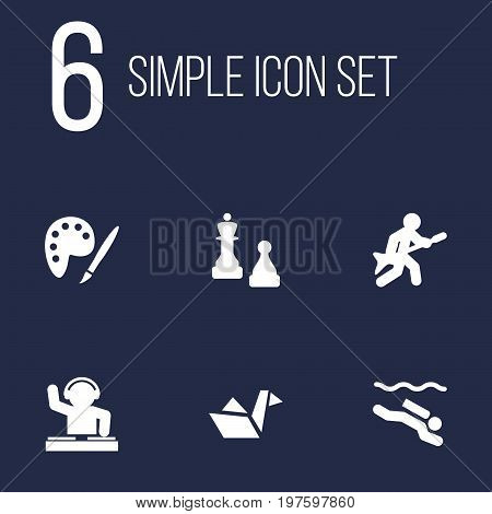 Collection Of Frogman, Checkmate, Disco And Other Elements.  Set Of 6 Hobbie Icons Set.