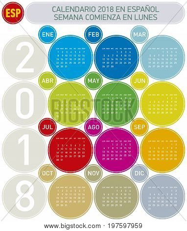 Colorful Calendar For Year 2018, In Spanish. Week Starts On Monday
