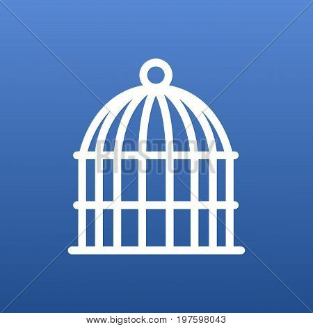 Vector Bird Prison Element In Trendy Style.  Isolated Birdcage Outline Symbol On Clean Background.