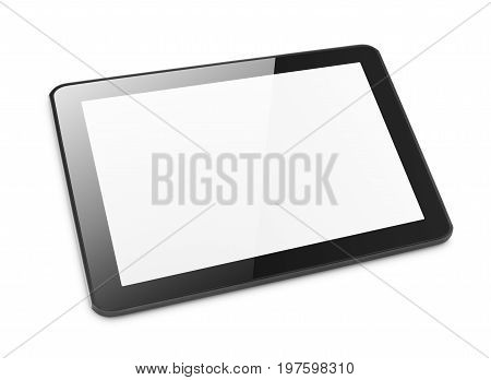 Modern black tablet computer isolated on white background. Tablet pc and screen with clipping path