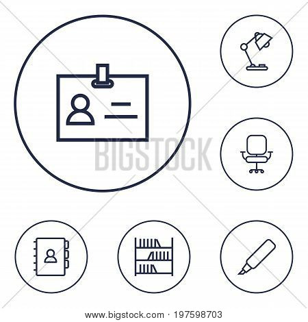 Collection Of Marker, Bookshelf, Book And Other Elements.  Set Of 6 Bureau Outline Icons Set.