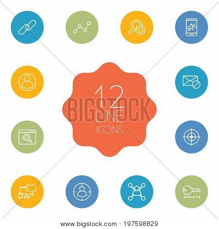 Collection Of Url, Password, Targeting And Other Elements.  Set Of 12 Optimization Outline Icons Set.