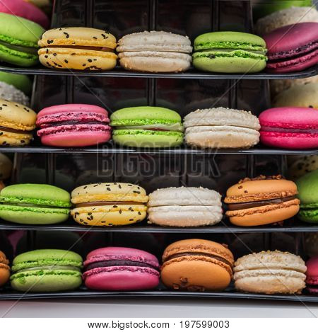 Close-up set of multicolored tasty macarons, french sweet cookies from almond flour, favorite sweet treat