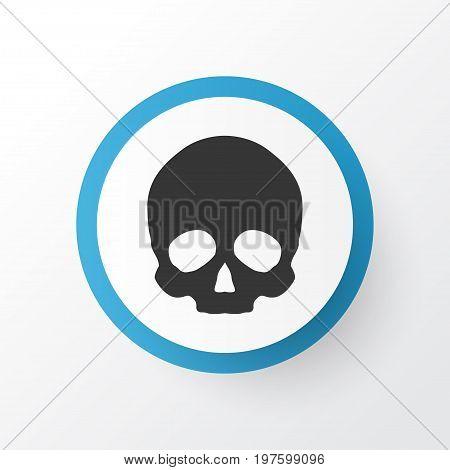 Premium Quality Isolated Cranium Element In Trendy Style.  Skull Icon Symbol.