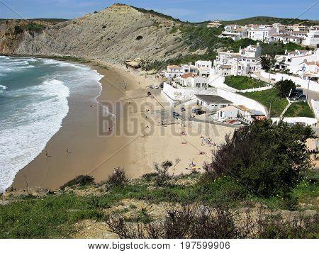 Burgau village and sandy beach in the Algarve, Portugal