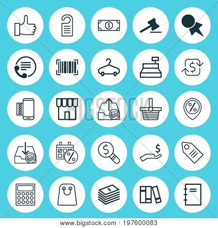 E-Commerce Icons Set. Collection Of Business Inspection, Telephone, Discount Location And Other Elements