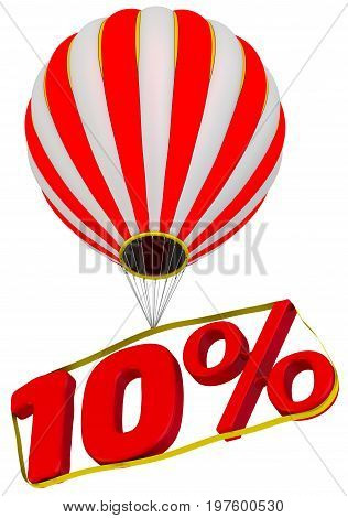 Ten percent flies in a hot air balloon. Isolated. 3D Illustration