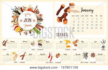 2018 Calendar Planner Design. Culinary spices. cloves, garlic, turmeric, cardamom, vanilla, nutmeg, cinnamon, chili pepper, coriander, ginger, black pepper, star anise