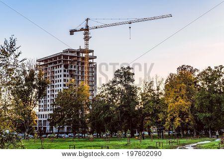 BELGOROD RUSSIA - OCTOBER 02 2016: Housing construction in the Belgorod city. Evening construction site.
