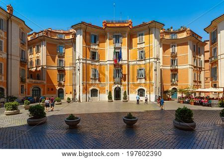 Square Piazza Sant Ignazio, located in the historic center of Rome, in front of the Church of St Ignatius of Loyola at Campus Martius, in sunny day, Italy.