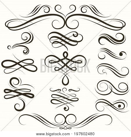 Flourish swirls Vintage collection, vector flourishes ornate curly decoration. Calligraphic border elements. Hand Drawn Rustic Doodle Swirls, Scrolls and Dividers