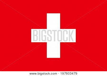Flag design. Swiss flag on the white background isolated flat layout for your designs. Vector illustration.
