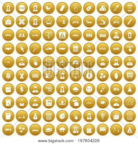 100 initiation icons set in gold circle isolated on white vectr illustration