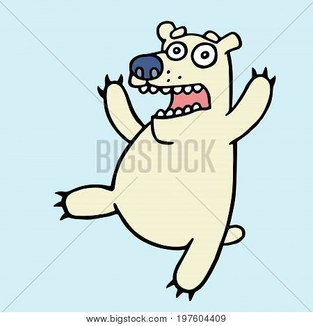 Funny polar bear in panic. Angry bees. Vector illustration. Cute screaming amazed cartoon character. Fright and fear.
