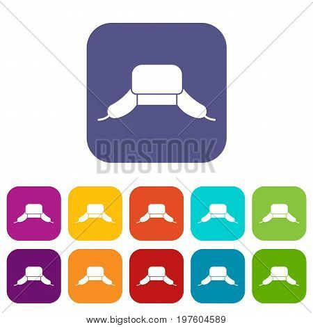 Hat with ear flaps icons set vector illustration in flat style in colors red, blue, green, and other