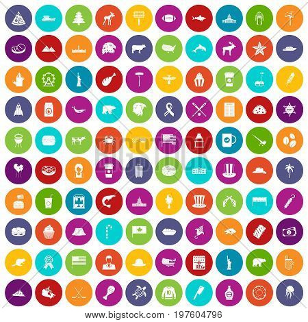 100 North America icons set in different colors circle isolated vector illustration
