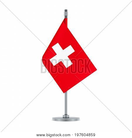 Flag design. Swiss flag hanging on the metallic pole. Isolated template for your designs. Vector illustration.
