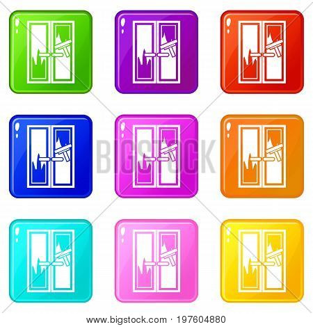 Window cleaning icons of 9 color set isolated vector illustration