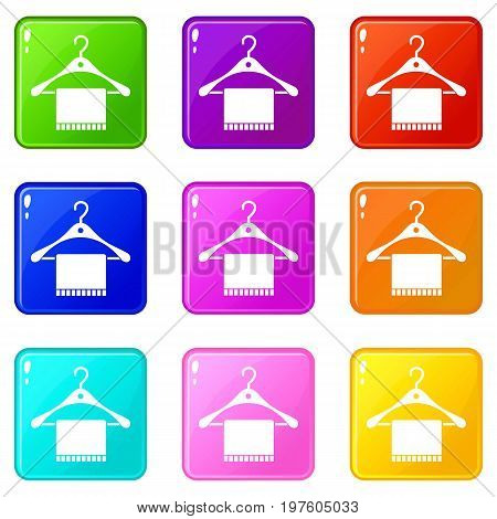 Scarf on coat hanger icons of 9 color set isolated vector illustration