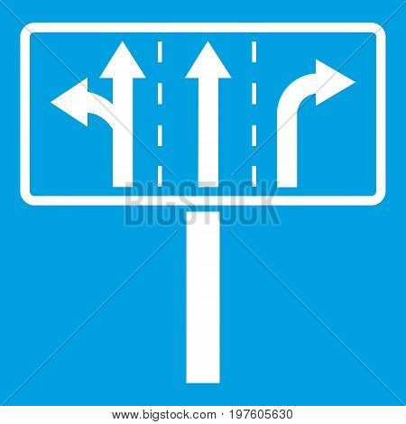 Traffic lanes at crossroads junction icon white isolated on blue background vector illustration
