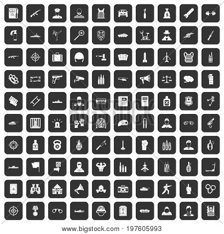 100 officer icons set in black color isolated vector illustration