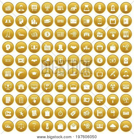100 lending icons set in gold circle isolated on white vectr illustration