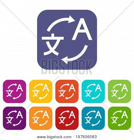 Translating icons set vector illustration in flat style in colors red, blue, green, and other