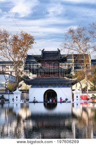 January 1 2015. Nanjing China. Tourists visiting the China imperial musuem Zhong guo ke ju bo wu guan jiangnan gong yuan in Nanjing China in Jiangsu province on New years Day.