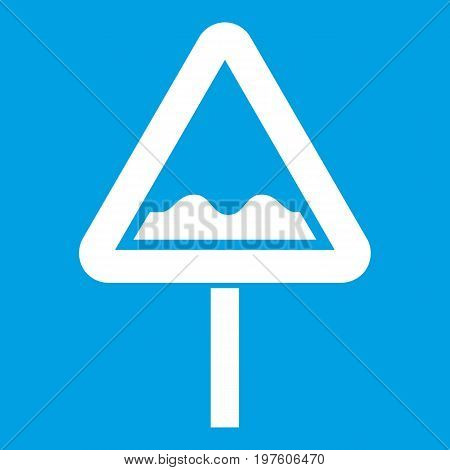 Uneven triangular road sign icon white isolated on blue background vector illustration
