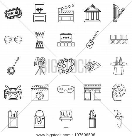 Exhibition icons set. Outline set of 25 exhibition vector icons for web isolated on white background