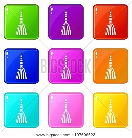 Broom floor icons of 9 color set isolated vector illustration