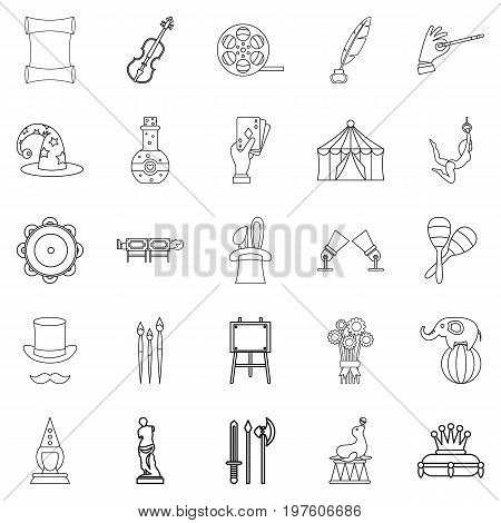 Picture show icons set. Outline set of 25 picture show vector icons for web isolated on white background