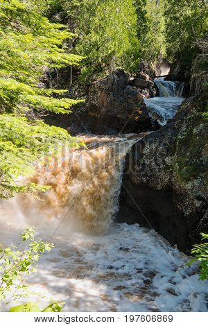 Raging cataracts of the Cascade River in northern Minnesota