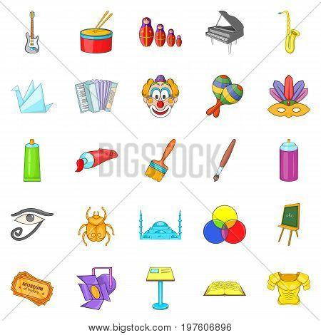Movie icons set. Cartoon set of 25 movie icons for web isolated on white background