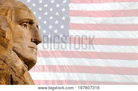 Stone silhouette of George Washington with American flag background