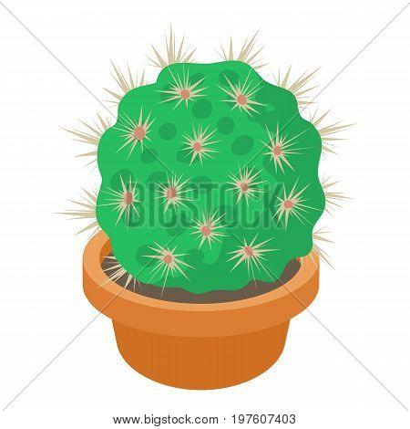 Cactus in flower pot icon. cartoon illustration of cactus in flower pot vector icon for web