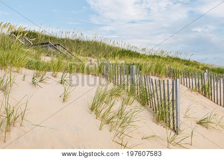 Sand dunes, beach grass, sand fences and a wooden staircase in Nags Head, North Carolina on the Outer Banks.