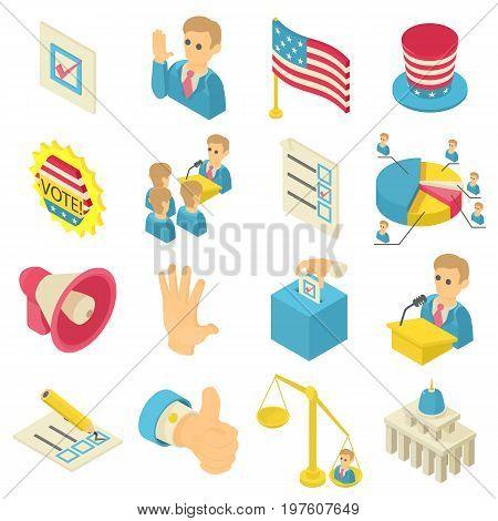 Election voting icons set. Isometric illustration of 16 election voting icons set vector icons for web
