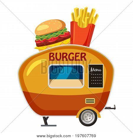 Burger trailer mobile snack icon. cartoon illustration of burger trailer mobile snack vector icon for web