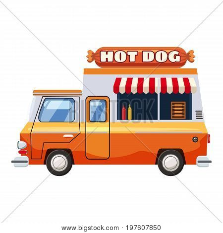 Hot dog van mobile snack icon. cartoon illustration of hot dog van mobile snack vector icon for web