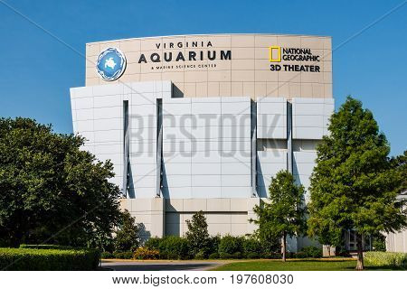 VIRGINIA BEACH, VIRGINIA - JULY 13, 2017:  The Virginia Aquarium & Marine Science Center, which houses a 3D IMAX theater and over 800,000 gallons of aquariums and live animal habitats.