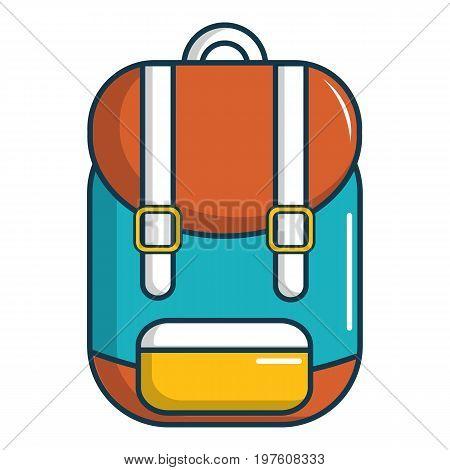 Backpack schoolbag icon. Cartoon illustration of backpack schoolbag vector icon for web design