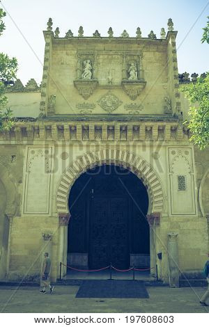 A Door With Intricate Design Inside The Mosque-church Of Cordoba, Spain, Europe